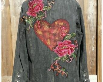 XXL Embellished Jacket Coat * ROSE HEART* Boho