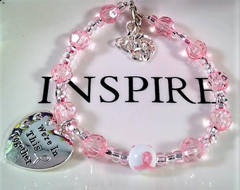 Breast Cancer Awareness, Pink Ribbon, We're In This Together, Pink beads, Breast Cancer Ribbon