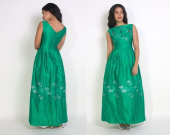 Vintage 50s 60s Emerald Green Satin Maxi Dress Party Gown Silver Embroidery Rhinestones Tassels Glam