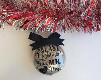 Personalized Engagement Ornament, Engagement Christmas Ornament, Engagement Gift, Glitter Ornament, Just Engaged Gift, Personalized Ornament