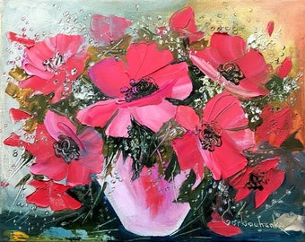 Palette Knife Original Oil Painting on Canvas - FLOWERS by Tetiana