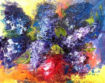 Palette Knife Oil Painting,Lilac,Original painting,Flower wall art, Kitchen décor ,Gift for mother of bride,Still life painting