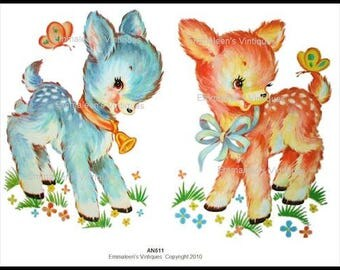 Vintage Shabby Nursery Baby Deer Waterslide Decals--Your Choice of COLOR or SIZE~AN510 AN511