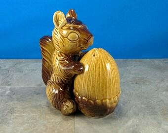 Vintage Squirrel with Acorn Ceramic Salt and Pepper Shaker Set - Brown Glazed - Japan