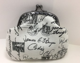 Black and White Writing Coin Purse