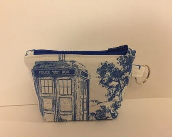 Weeping Angels Tardis Keychain Coin Pouch with Zipper