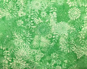 Green floral fabric by the yard - green fabric by the yard - #17039