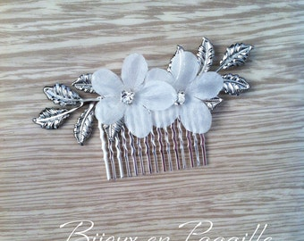 READY TO SHIP - Wedding hair accessory -  hair comb - strass  - silver  leaves
