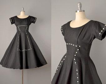 50s Dress // 1950's Black Cotton Piqué Dress w/ Hourglass Button Design // Small