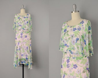 20s Dress // 1920s Sheer Floral Silk Chiffon Flutter Flapper Dress // Small