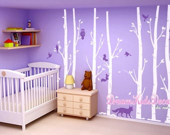 Baby Room Decal, Tree Wall Decals Wall Sticker Vinyl decal, Birch Tree with Owls, Woodland, Birds- DK242