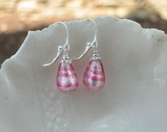 Pink Murano Glass Teardrop Earrings