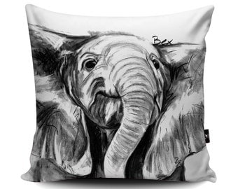 Elephant Cushion, Elephant Pillow, Elle Cushion Cover, Elephant Bedding, Charcoal Elephant Gift, 45/60cm, Faux Suede Cushion by Bex Williams