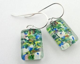 Glass Jewelry: Nenuphar Drops Green Monet Water Lilies
