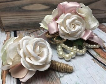 Pink Prom Corsage, Rose Wrist Corsage, Rose Prom Boutonniere, Prom Corsage and Boutonniere Set, Wedding Corsage,