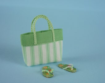 NEW FABRIC - Green Beach Bag or Tote and Flip Flops, 1:12 or 1/12 Scale Dollhouse Miniature, Retro Green Flip Flops, Beach, Vacation, Garden