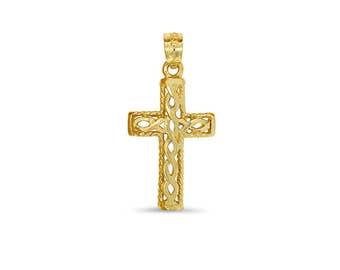 14k solid gold cross pendant. celtic design cross pendant.