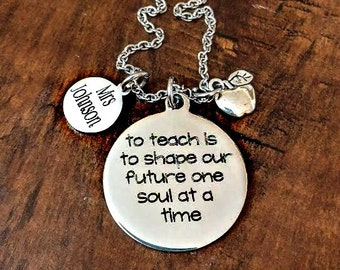 Custom Personalized Engraved Teacher Necklace - Teacher Gift, Inspirational
