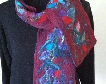 Nuno felted scarf, wool scarf, burgundy colored scarf