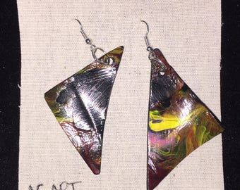 Hand painted vinyl record earrings