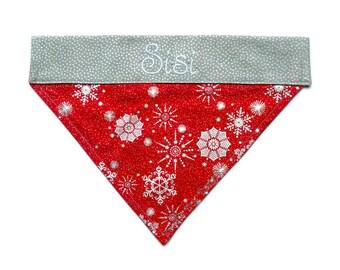 "Holiday Dog Bandana, Christmas Dog Bandana, Personalized Dog Bandana, Dog Bandanna, Dog Scarf, Over the Collar Dog Bandana, ""Red Snowflakes"""