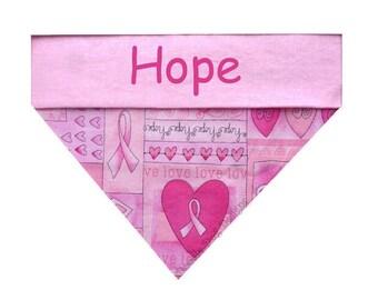"""Personalized Dog Bandana, Breast Cancer Awareness Bandana, Dog Collar Bandana, Pet Bandana, Dog Bandanna, Dog Gift, """"Hope"""""""