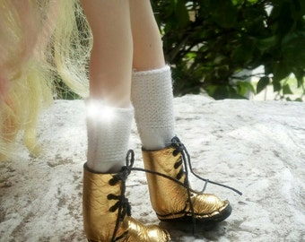 Hand made gold leather blythe boots