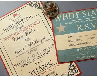 Titanic Wedding Invitation and RSVP suite, Vintage nautical wedding invitation, Titanic Birthday Party, Edwardian Wedding High Tea