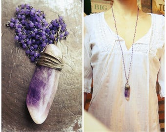 Amethyst necklace Statement necklace One of a kind Handmade necklace Pendant necklace Big pendant