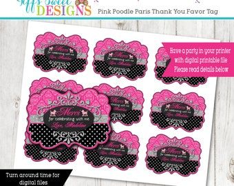 Paris  Party Favor Tag - Thank You Tag - French - Parisian- Pink Poodle Thank You Tag - Paris Birthday Party