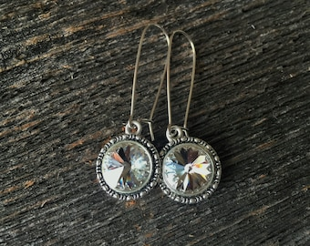 Swarovski Clear Crystal Rivoli Earrings 12 mm with Sterling Silver Kidney Ear Wires