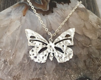 Detailed Tibetan Silver Butterfly Long Layering Necklace