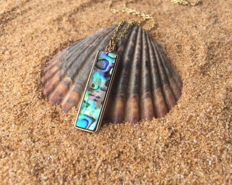 Abalone Pendant Necklace With Gold Tone Chain
