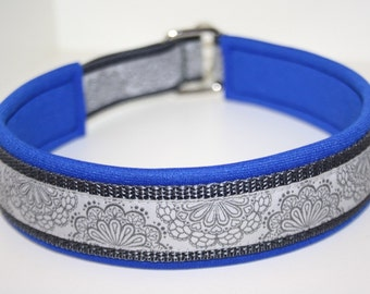 "Train stop ""SpitzenWerk"" grey Royal blue collar, made to measure"