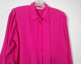 Bright Fuschia Pink Vintage Silk Button Down Blouse Shirt with Pleated Hidden Buttons & Shoulder Pads, Colorful Retro Fashion