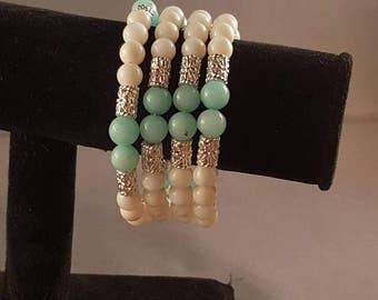 Spring green memory wire bracelet