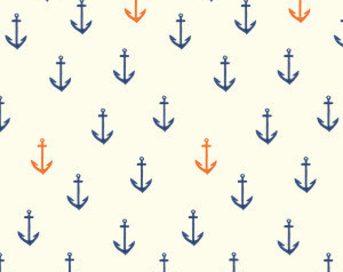 Sale!! Anchors Away - Double Gauze Organic Cotton Fabric - Saltwater by Emily Winfield Martin for Birch Fabrics