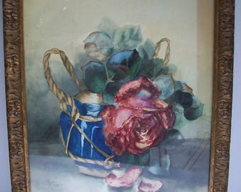 Antique Original Framed WATERCOLOR FLORAL Still Life PAINTING signed Crawford