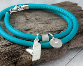 Wrap bracelet leather ship ahoy 925 Silver, leather bracelet turquoise with boat, letter pendant, maritim