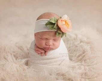 Flower Headband, Ivory Flower Headband, Ivory Headband, Jersey Headband, Photo Props, Newborn Headband, Baby Headband, Photography Props