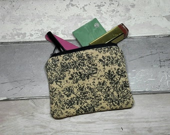 Coin purse, flowers, leaves, hand stamped, money, coin, zipped pouch, floral, beige,  black, block printing, pocket money