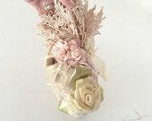 Heart Shaped Lace Pomander, Lace Pin Cushion, Victorian Decorative Ornament, Satin Flowers