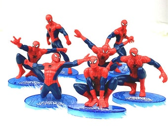 CAKE TOPPER - 7 pcs Spiderman Figure Set Birthday Party Cupcakes Figurines