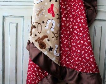 Hee Haw Cowboy Minky Blanket -  Cowboy Boots, Horseshoe, Stars, Western, Spurs, Horse - Crib Bedding, Nursery