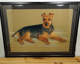Vintage Original Terrier Dog Pastel Portrait By Noted Artist Patience Birley 1905-2010 Signed Matted Framed Airedale Lakeland Welsh Terrier