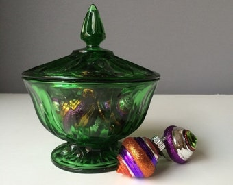 ON SALE Emerald Green Indiana Glass Candy Dish, Vintage Home Decor