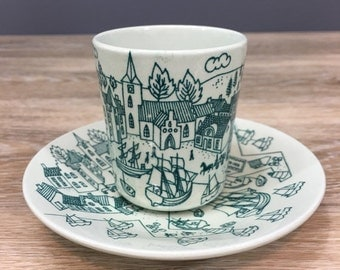 ON SALE Nymolle Denmark Demitasse Cup and Saucer, Limited Edition Hoyrup Art Faience, Vintage Scandinavian Ceramic Dishes, Seaside Shipping