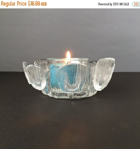 ON SALE Viking Glass Finnish Crown Display Bowl or Candle holder, Vintage American Art Glass