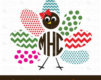 Turkey Monogram Frame for Boy or Girl - .svg/.eps/.dxf/.ai for Silhouette Studio, Cricut, or other cutting software