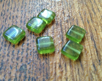 Lot of 24  Square Green Glass beads